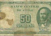 Vendo billetes chilenos antiguos de 1962 a 1974