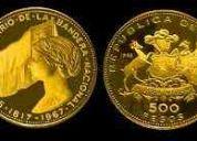 Compro monedas y billetes chilenos antiguos- 9-7597685.