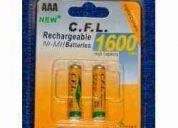 Pack 2 pilas recargables aaa de 1600 mah niquel - metal