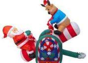 Santa con reno balancin adorno