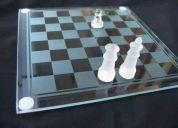 Juego completo ajedrez vidrio tablero biselado  25 x 25 cms juego de mesa y decoracion