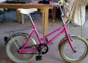 Bicicleta de niÑa marca vargas aro 18 color rosada