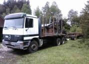 Camión mercedez 3340, grúa jonsered 890 y carro tremac
