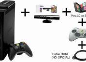 Vendo xbox 360 elite 120 gb desbloqueada + kinect + 56 juegos + cable hdmi + 2 controles