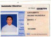 Tecnico electricista autorizado  sec