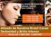 Alisado de keratina, sin formol, brasil cacao profesional.