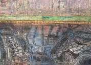 Pintura sobre madera tallada i  formato medio