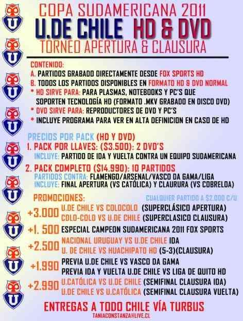 Pack HD DVD Partidos Universidad de Chile Copa Sudamericana Torneo Nacional 2011