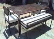 Comedor cubierta de malla, 2 sillas, 2 banquetas laterales, tono envejecido
