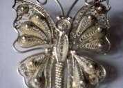 Colgante y prendedor  mariposa de plata 925 g