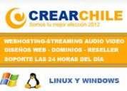 Crearchile web hosting , dominios, streaming audio y video, planes reseller, diseños web