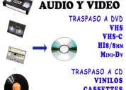 Traspaso video vhs c minidv hi8 8mm vinilo cassette a cd dvd