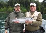 Pesca deportiva lanzamiento con mosca lago todos los santos chile