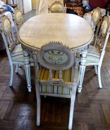 Gran comedor de 6 sillas estilo luis xvi de madera de for Sillas de estilo luis xvi