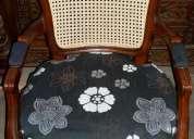 Sillones estilo luis xv con junco de madera de raulí