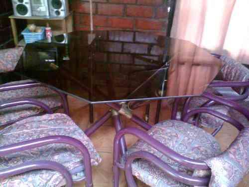 Comedor de vidrio hexagonal la florida doplim 80593 for Comedor hexagonal