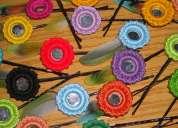 Pinches metalicos con espejitos y pluma