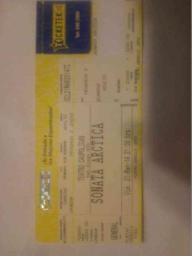 Entrada para Sonata Arctica Chile 21 de marzo 2014
