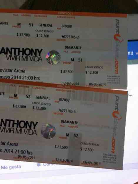 entradas a Marc Anthony sector diamante