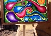Remato oleo en madera abstracto 1.50 x 90