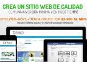 Sitio web administrable a bajo costo pago mensual $5.990