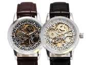 Reloj skeleton de acero correa de cuero