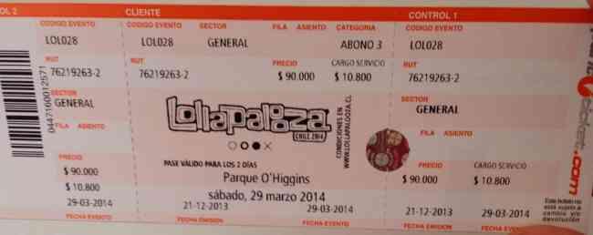 Entrada Lollapalooza pase 2 dias $90.000