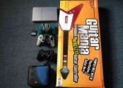 play station 2 + 3 player + 40 juegos + guitarra guitar hero regalo
