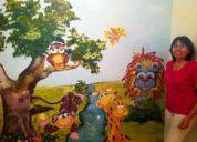 Diseño y dibujos decorativos en murallas, cuartos de niños, sala cunas, colegios, tiendas.