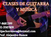 Curso de guitarra (particulares a domicilio) nivel básico y medio.