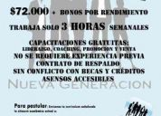Trabajo part-time estudiantes $ 72.000 3 horas semanales