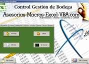 Control gestión de bodega excel - control de inventario - control stock de almacenes