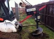 Arriendo mini cargador con martillo hidraulico y barreno ahoyador