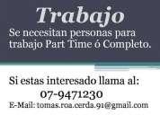 TRABAJO TIEMPO PARCIAL Y TIEMPO COMPLETO