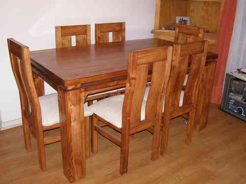 Comedor 6 sillas en pino oregon nacional quinta normal for Comedores de madera economicos