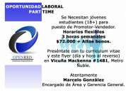 Promotores vendedores, trabajo part-time, horario flexible educacion superior