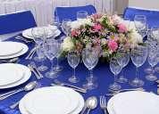 arriendo de mesas, sillas, mantelería, vajilla, loza, copas para eventos.