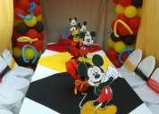Mobiliario para cumpleaños infantiles con manteleria completa